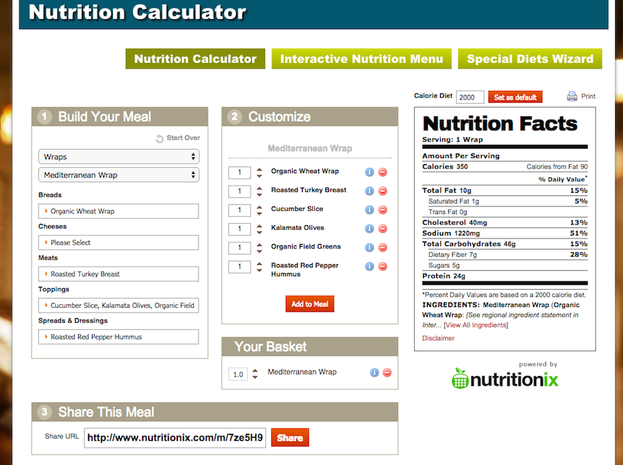 Jason's Deli Nutritional Calculator