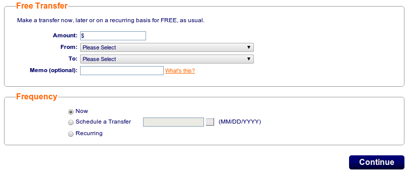 ING Direct Transfer Interface